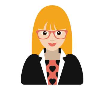 A draw of a blonde woman wearing glasses. She looks pretty smart.